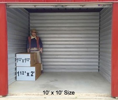 Big red storage for 10x10 square feet